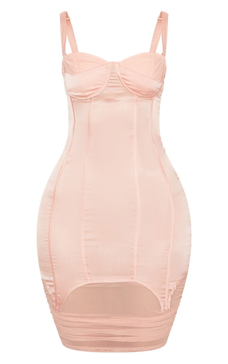 Blush Satin Corset Detail Mesh Insert Midi Dress 3