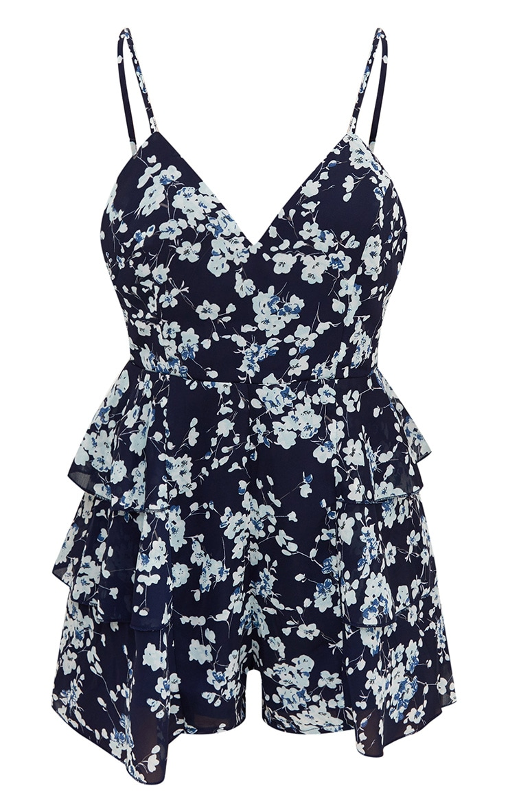 Navy Floral Ruffle Skirt Playsuit 3
