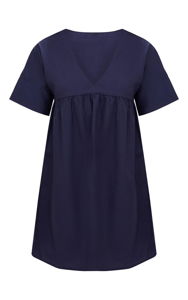 Navy Poplin Smock Dress 3