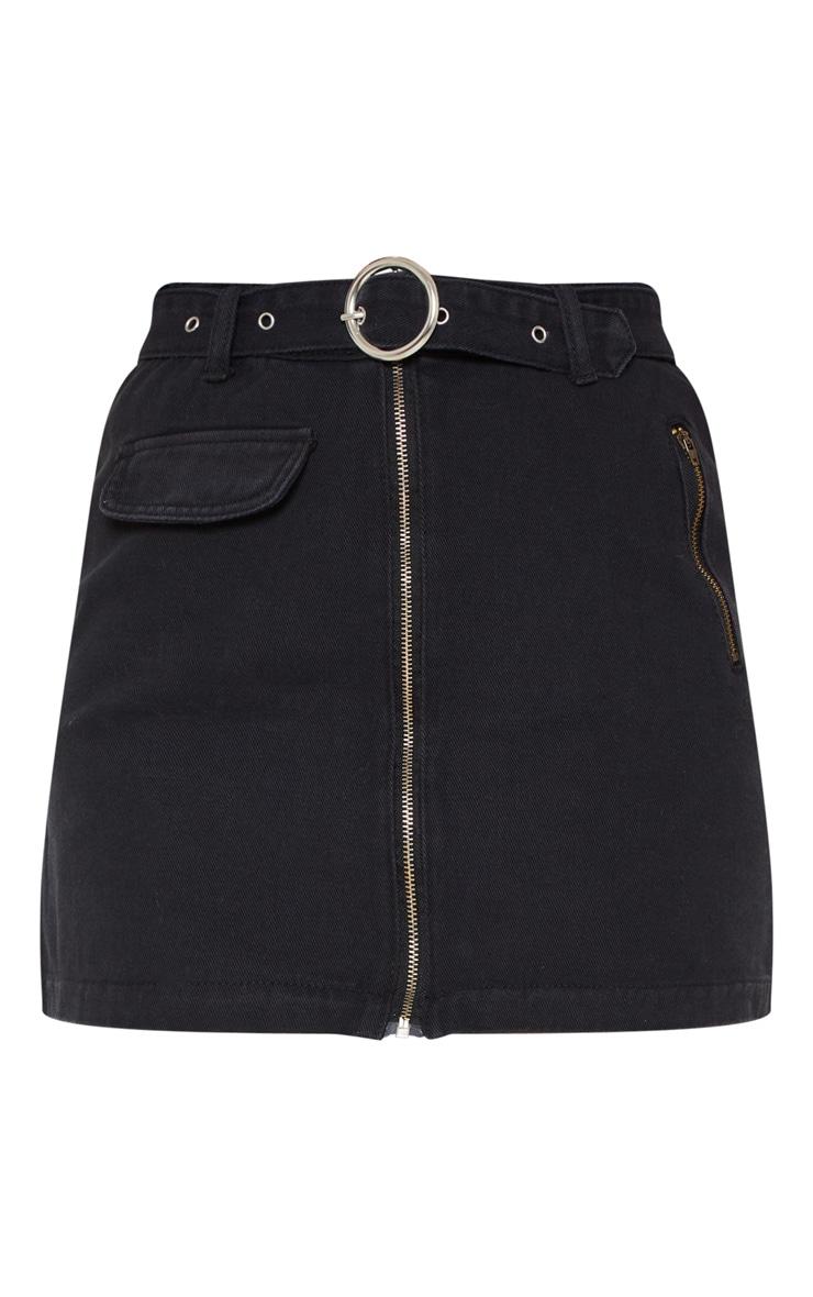Black Zip Through Belted Denim Skirt  3