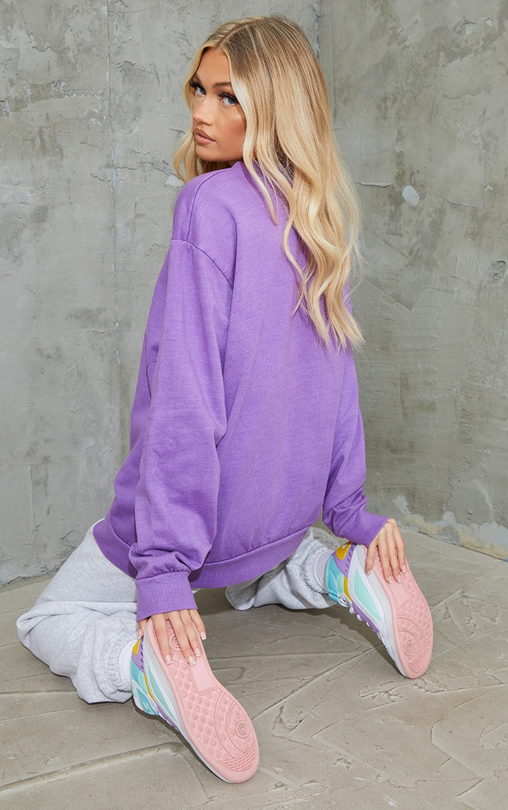 Purple Minnesota Slogan Printed Washed Sweatshirt 2