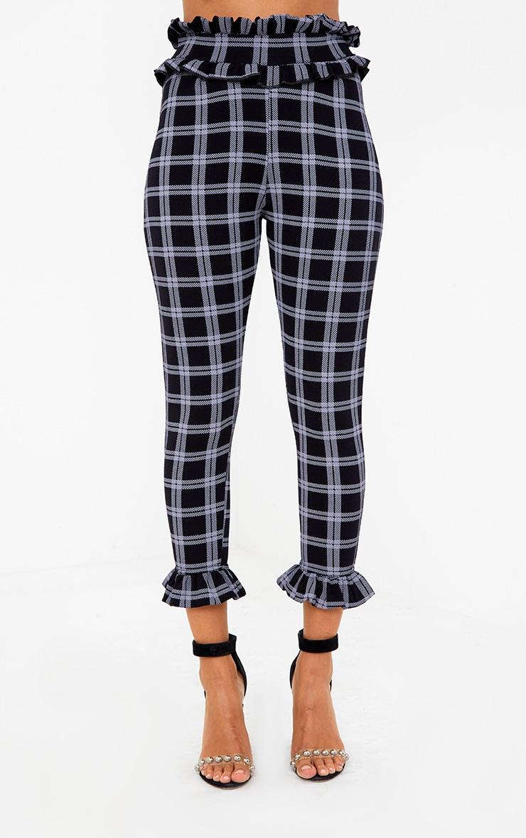 Black Check Frill Trim Trousers 2