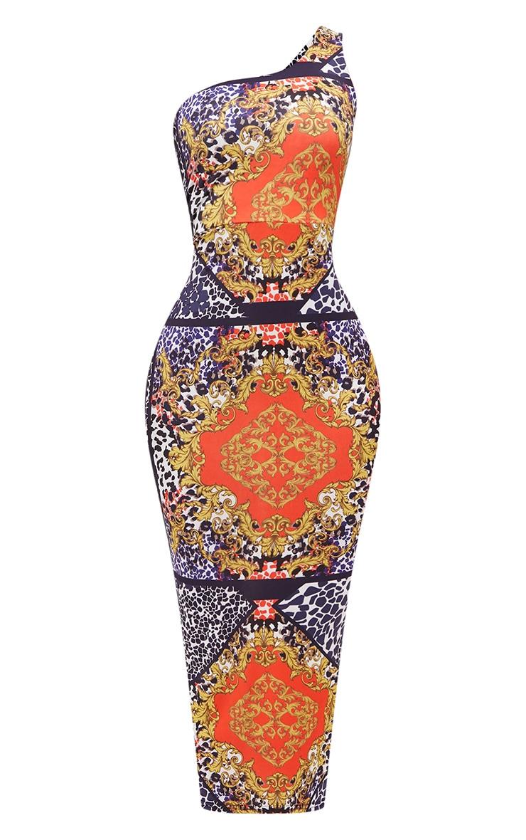 Shape Scarf Print One Shoulder Slinky Midaxi Dress 3