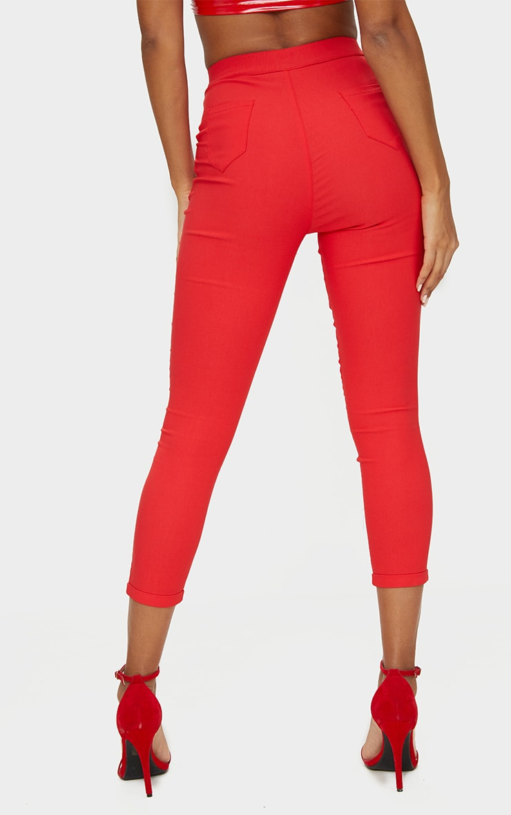 Red High Waisted Jeggings 4