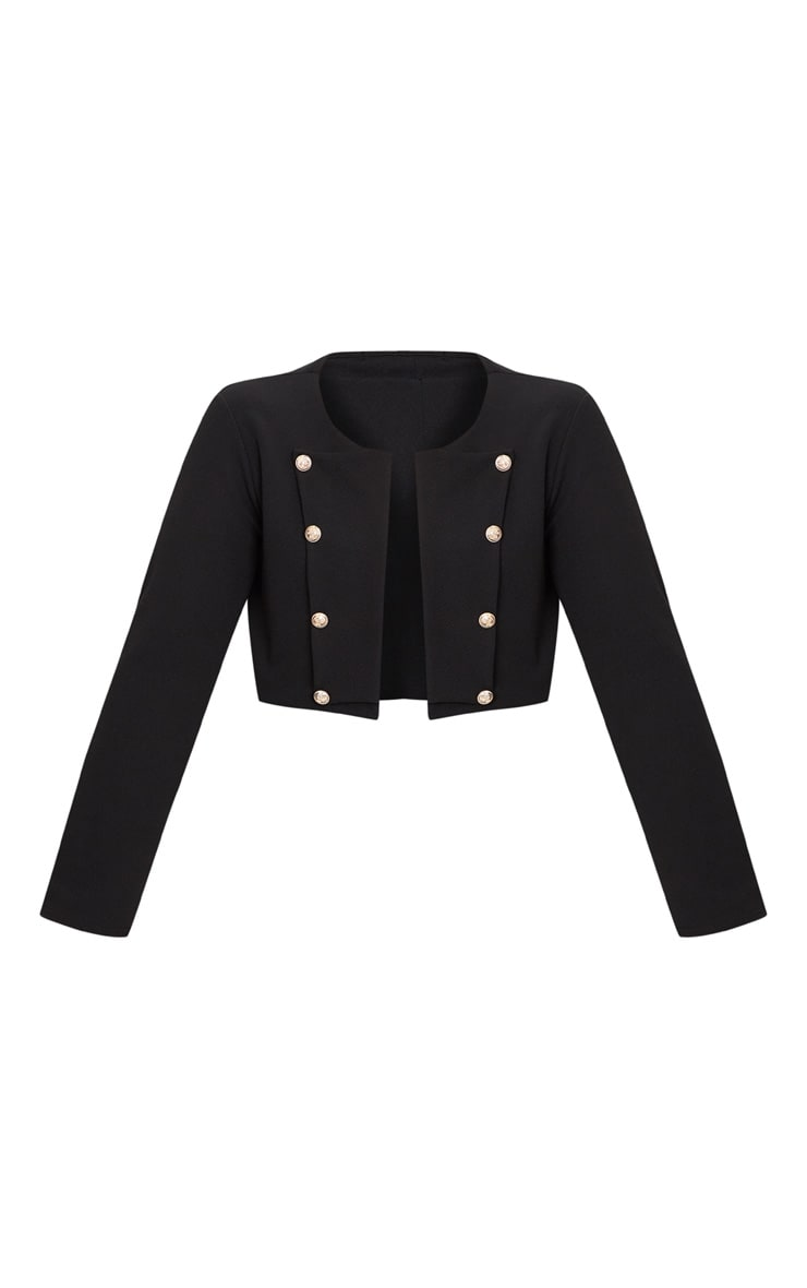 Plus Black Military Cropped Jacket  3