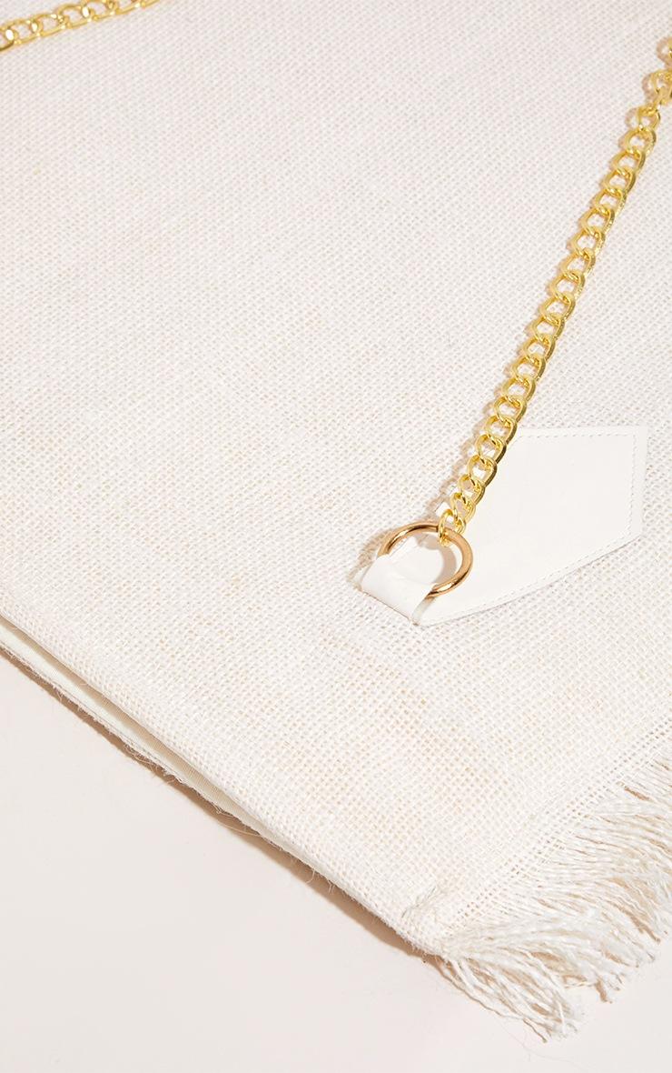 White Woven Straw Tassel Shoulder Bag 2