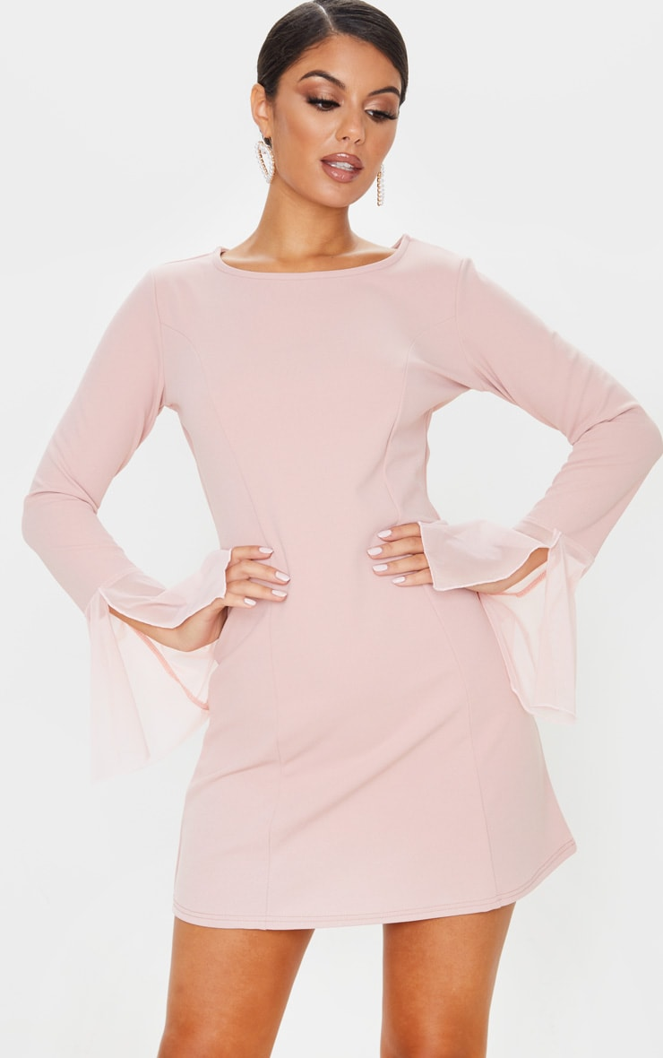 Dusty Rose Frill Sleeve Detail Shift Dress 4