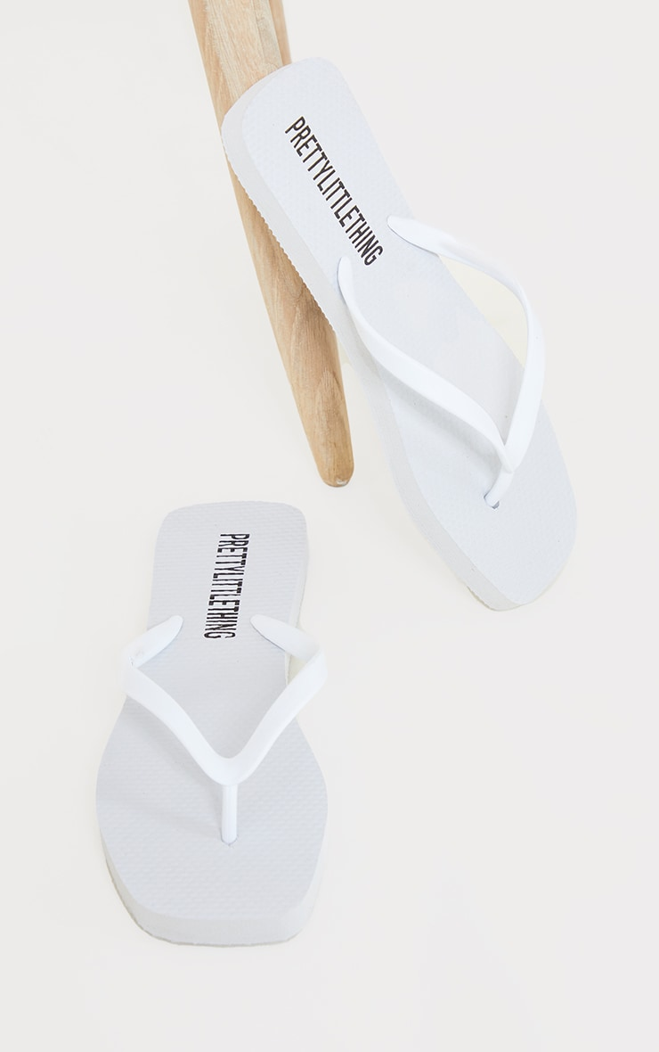 White Square Toe Flip Flop 3