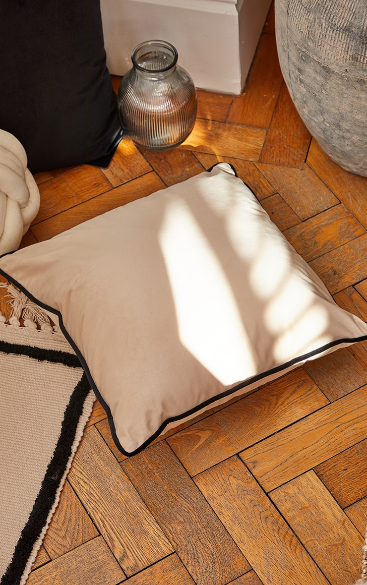 Cream Velvet Filled Cushion With Contrast Piping 2