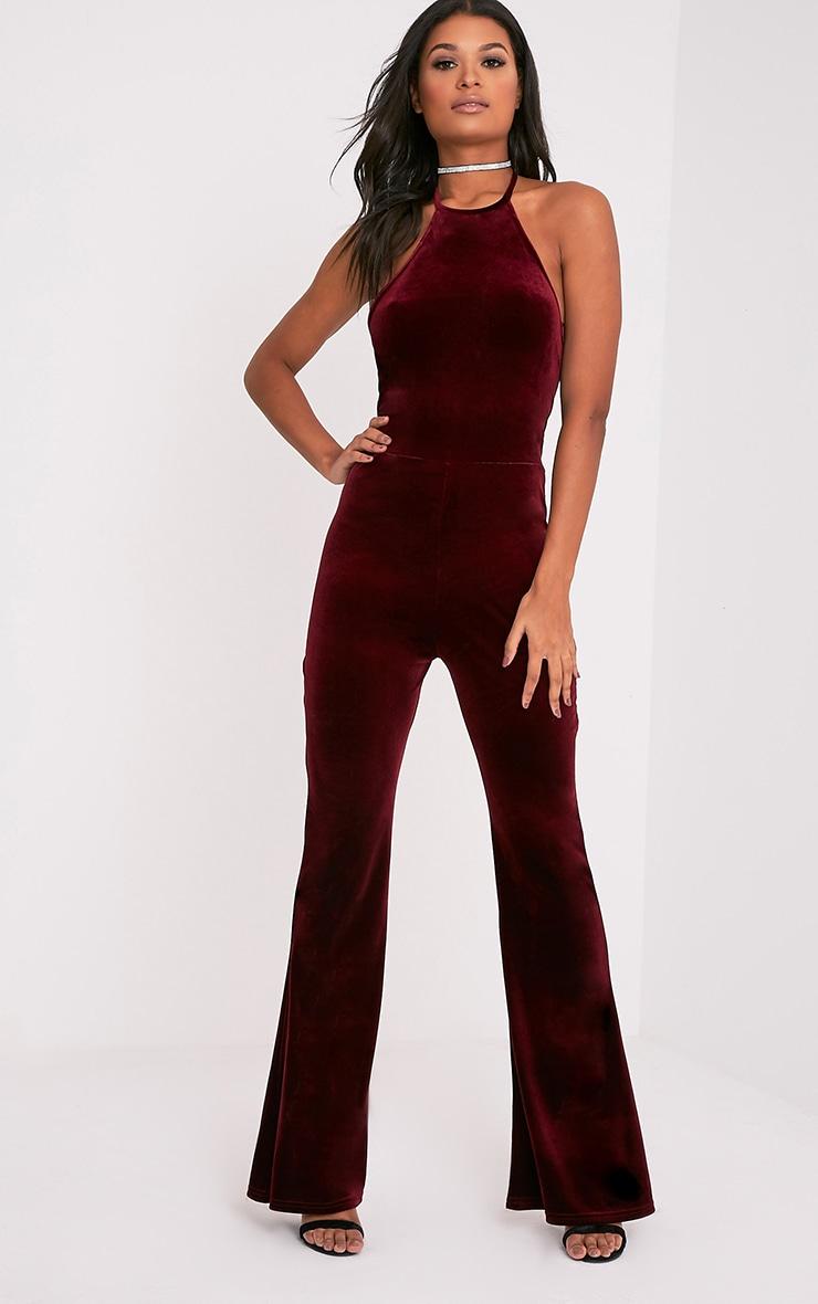 Erica Burgundy Velvet Open Back Wide Leg Jumpsuit 4