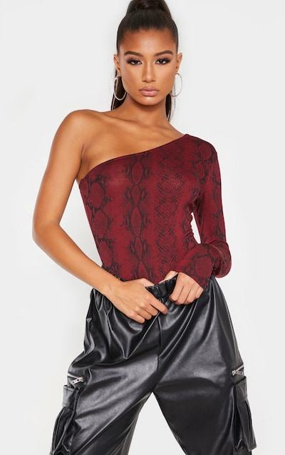 Burgundy Snake Printed One Shoulder Jersey Long Sleeve Bodysuit