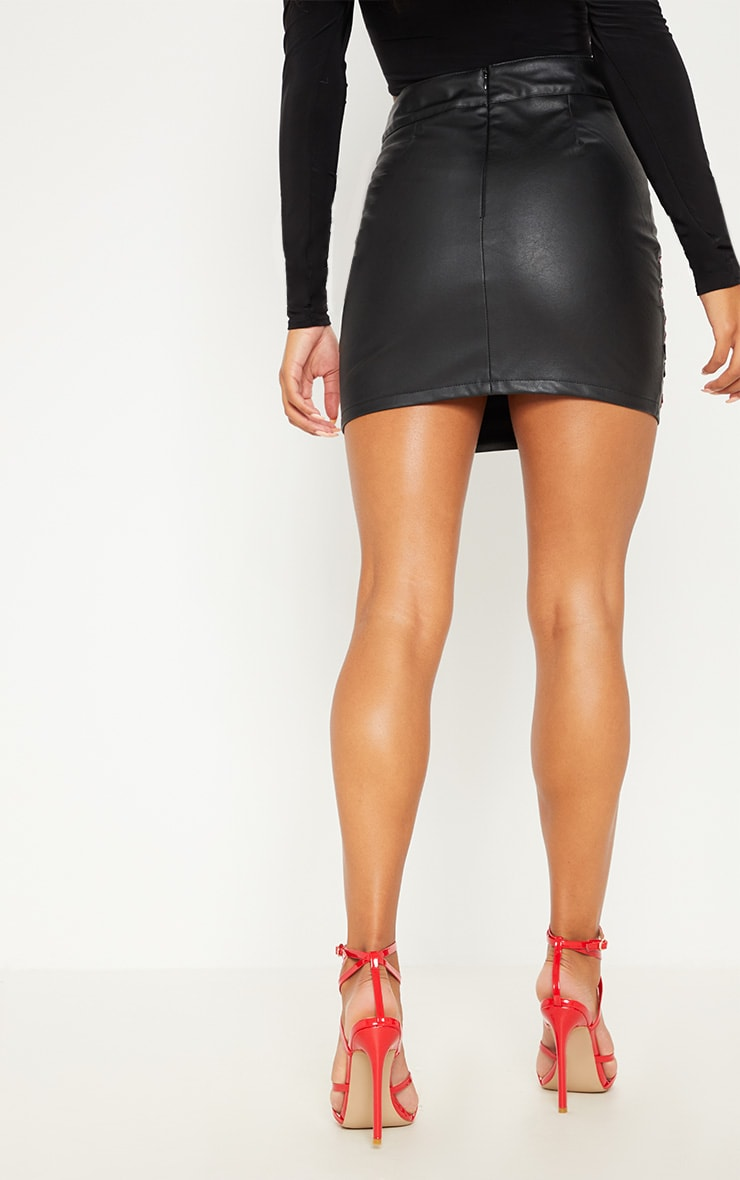 Black Faux Leather Embroidered Rose Mini Skirt 4
