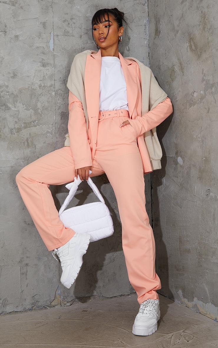 Peach Woven Triple Breasted Blazer 3