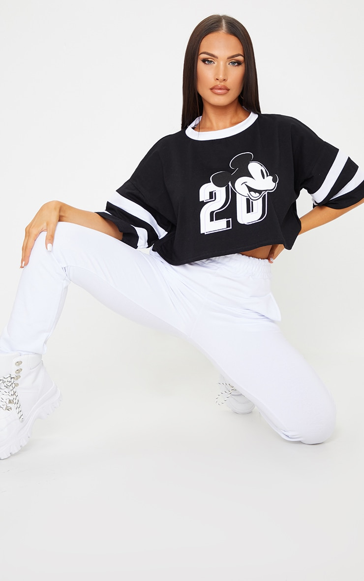 Black Disney Mickey Mouse Crop T Shirt 3