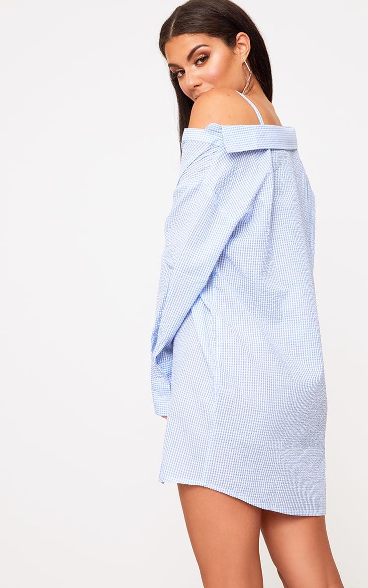 Blue Asymmetric Shirt Dress 2