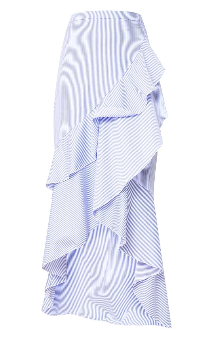 Blue Pinstripe Hi Lo Hem Ruffle Maxi Skirt 3