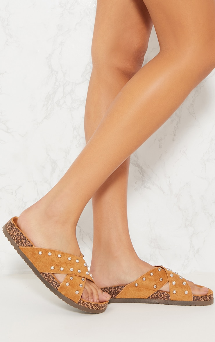 Tan Cross Strap Studded Footbed