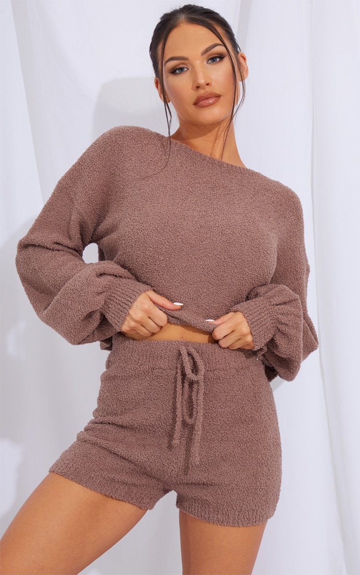 Chestnut Chenille Balloon Sleeve Sweater And Shorts Lounge Set 1