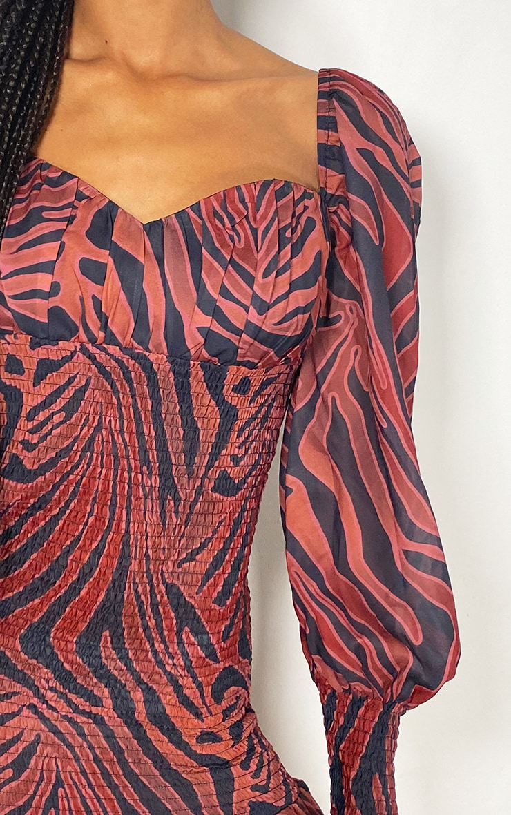 Rust Zebra Print Chiffon Shirred Long Sleeve Frill Hem Bodycon Dress 4