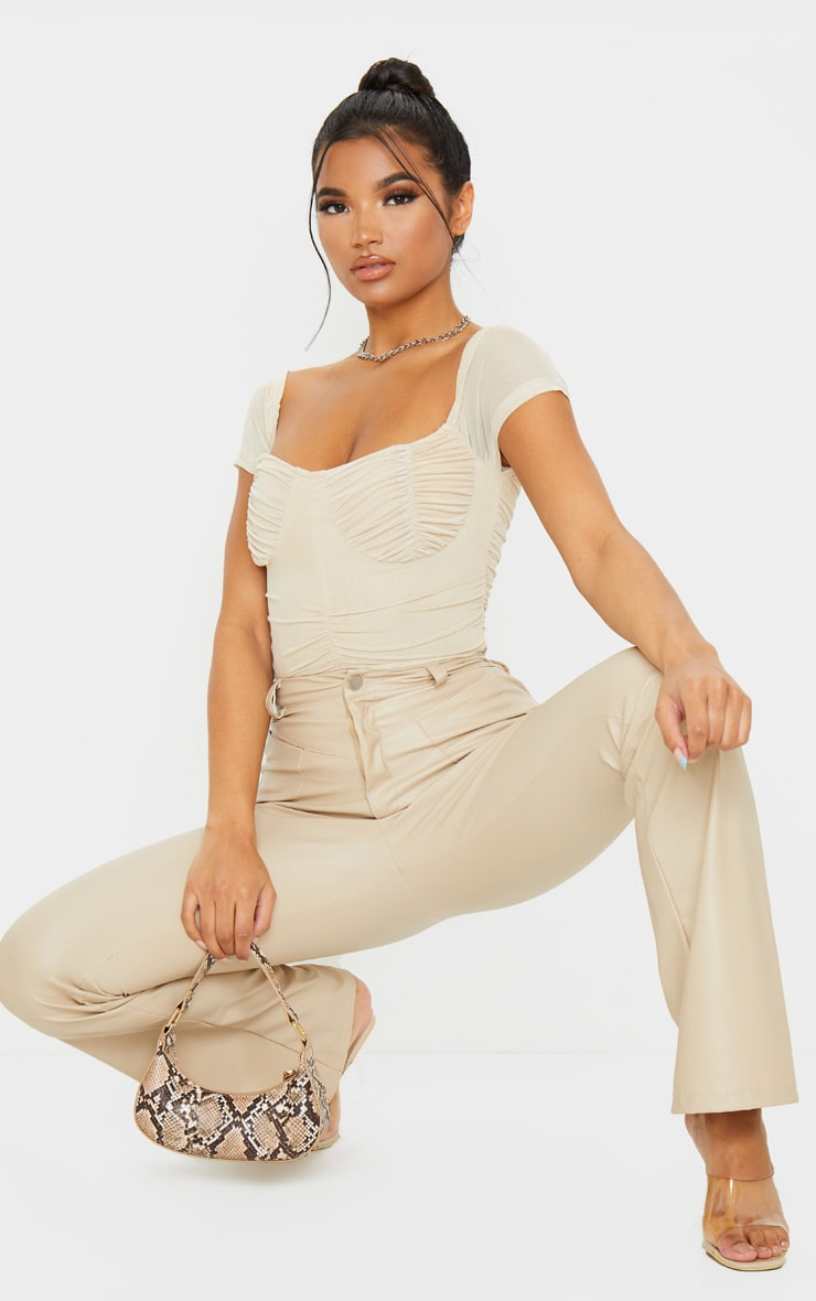 Nude Mesh Ruched Short Sleeve Bodysuit 5