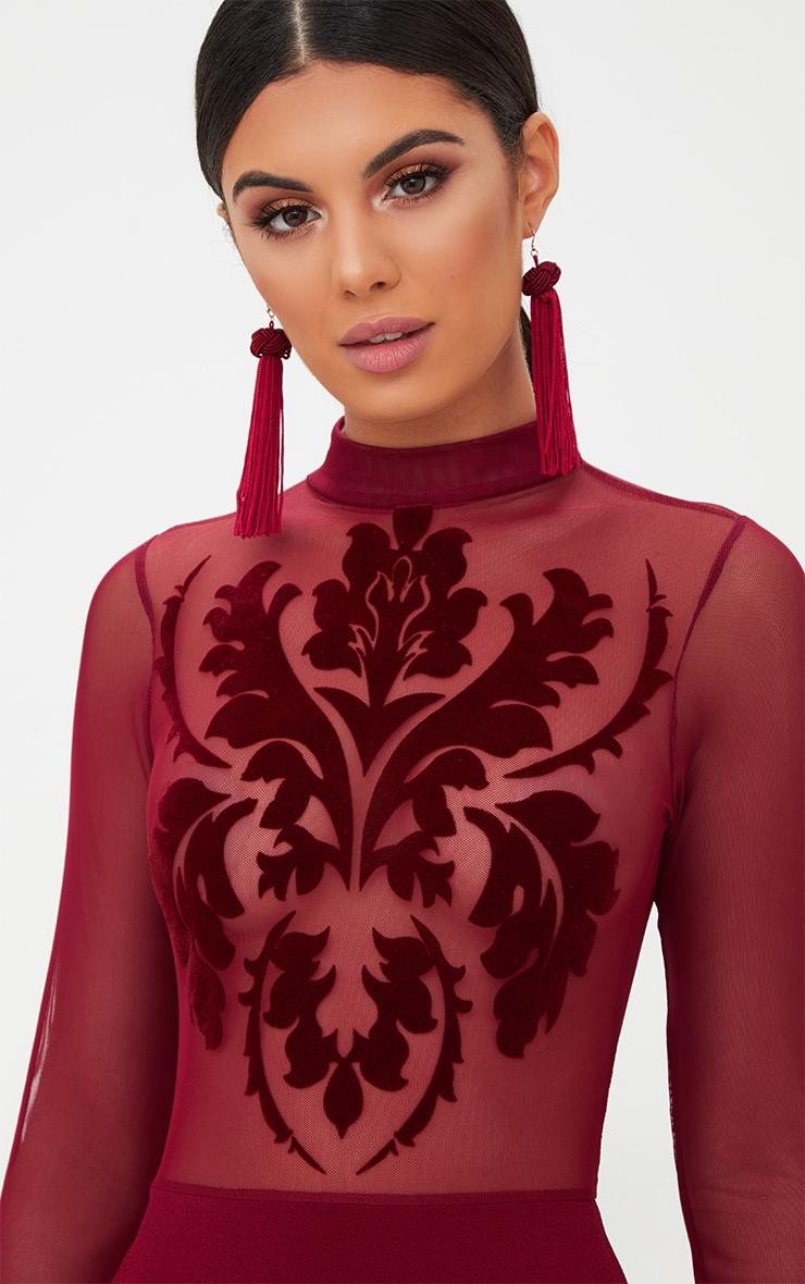 Burgundy Sheer Flocked Mesh Bodycon Dress 5