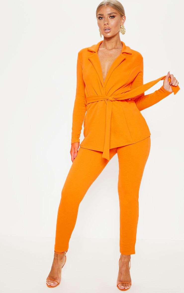 Blazer orange à ceinture à boucle 4