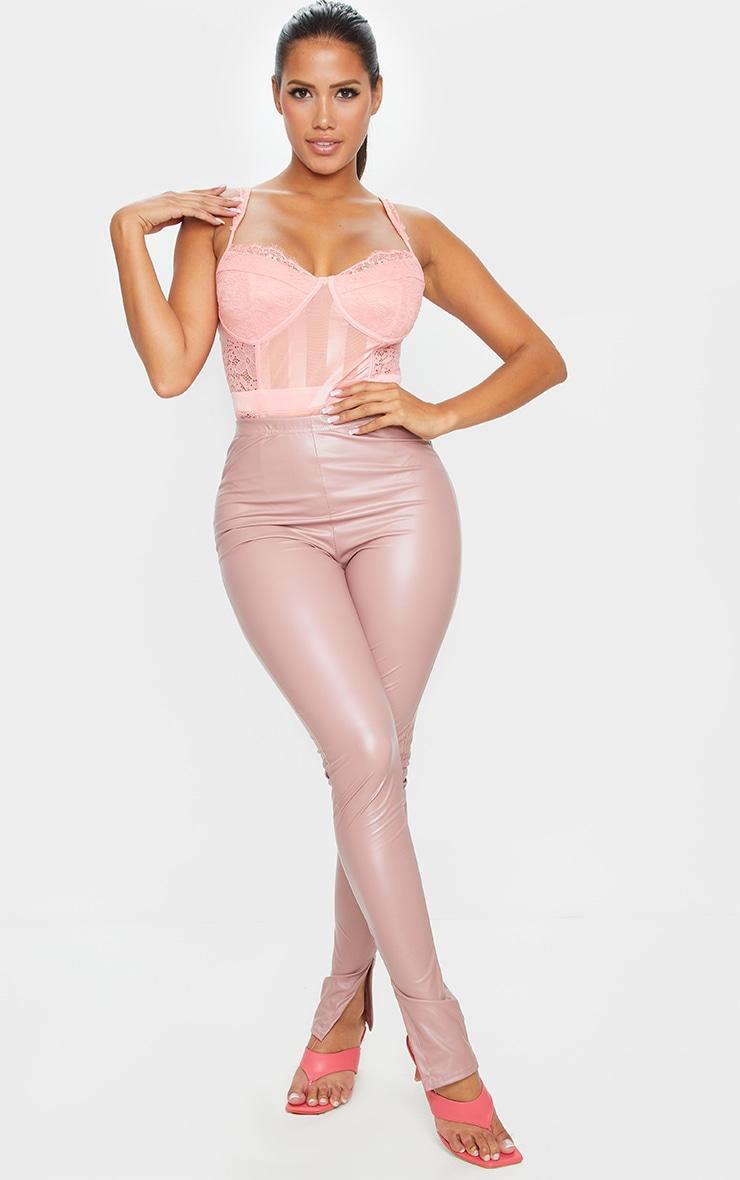 Shape Peach Lace Mesh Stripe Bodysuit 3