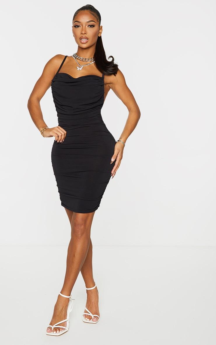 Shape Black Halterneck Ruched Low Back Bodycon Dress 3