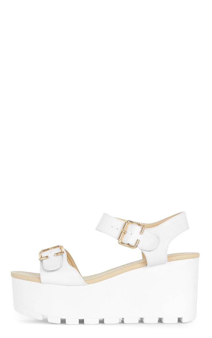 Darcy Cleated White Strap Flatform with Buckle 1
