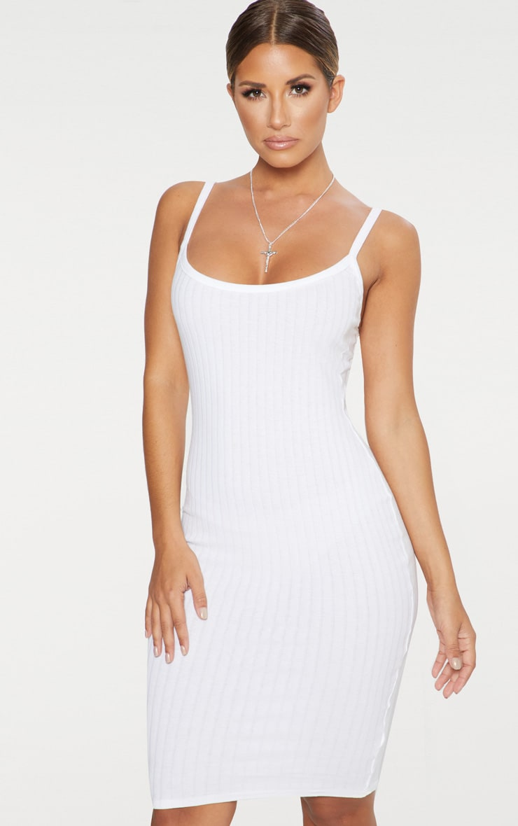 White Thick Ribbed Plunge Midi Dress 3