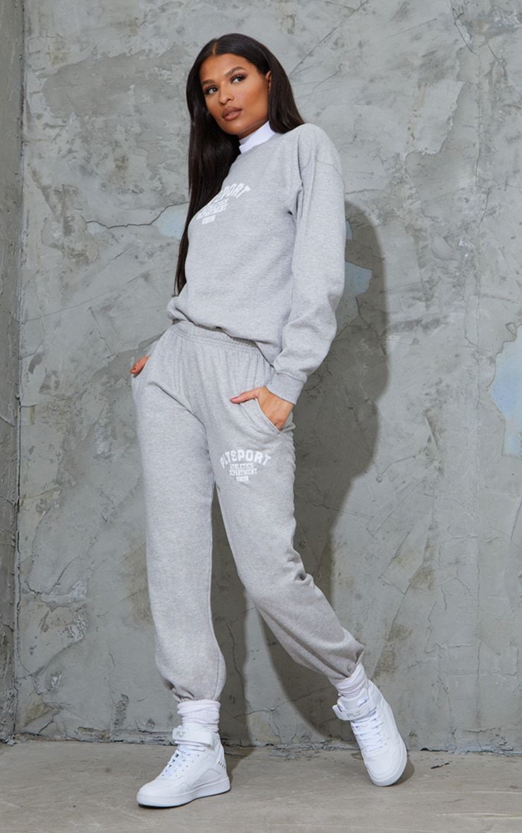 PRETTYLITTLETHING Grey Sport Oversized Joggers 1