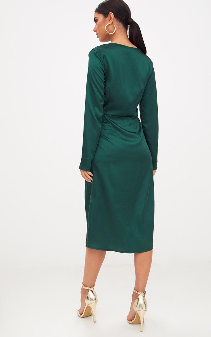Emerald Green Satin Long Sleeve Wrap Midi Dress 2