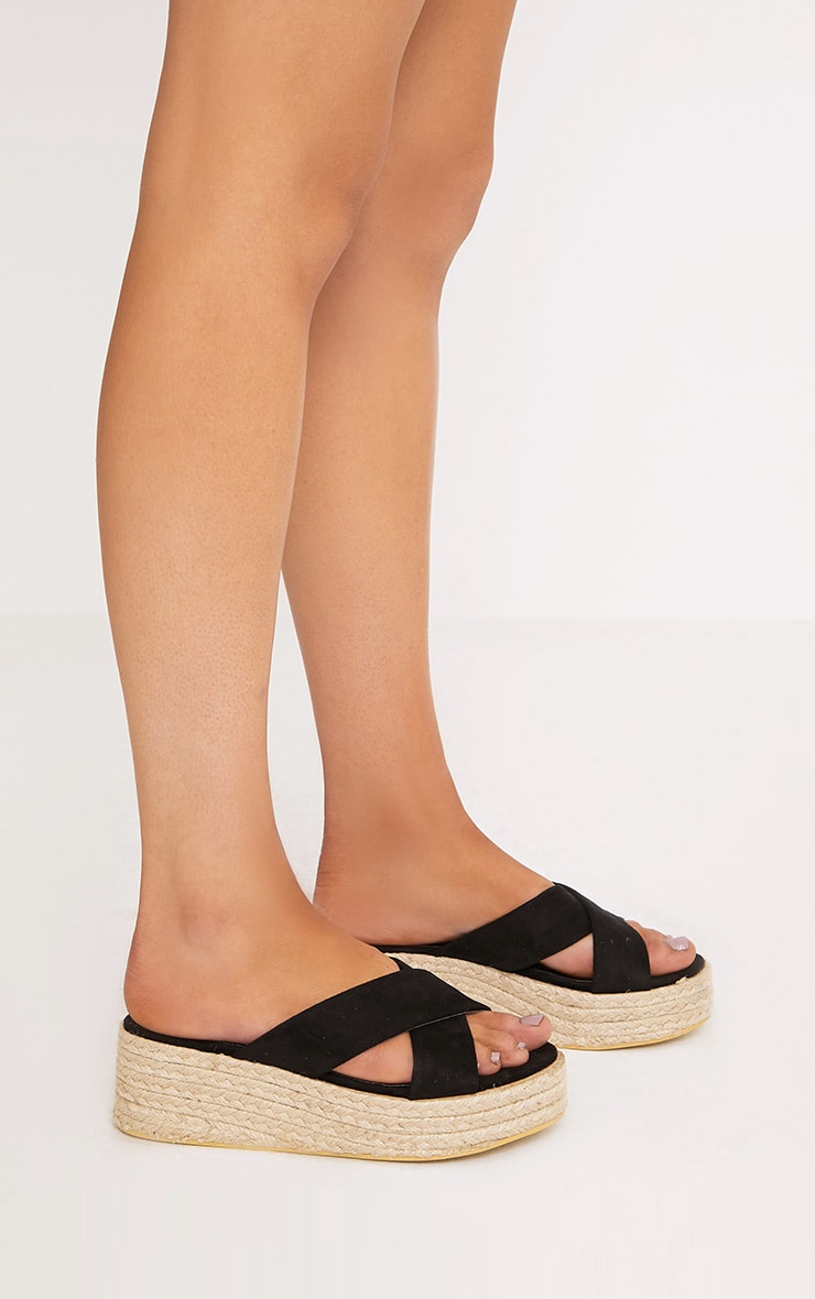 Liara Black Faux Suede Flatform Sliders 3