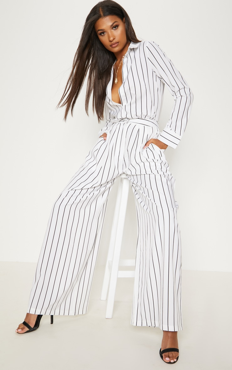 White Wide Leg Stripe Trouser 1