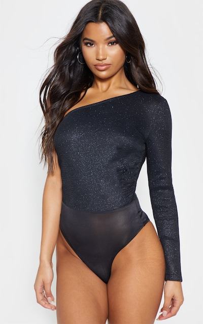 Black One Shoulder Glitter Mesh Bodysuit 1d0a5ce4d