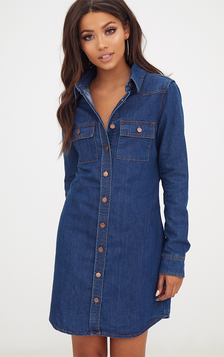 Dark Wash Button Up Denim Shirt Dress 1