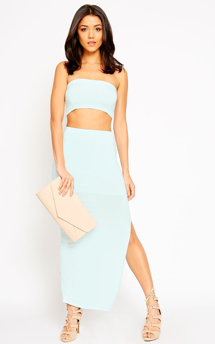 Helsa Mint Slinky Bandeau Crop Top 3