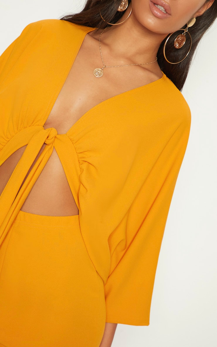 Mustard Crepe Batwing Cut Out Romper 5