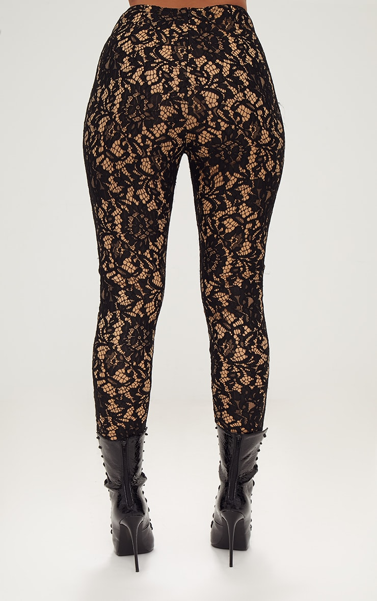 Black Lace Eyelet Detail Skinny Pants 5