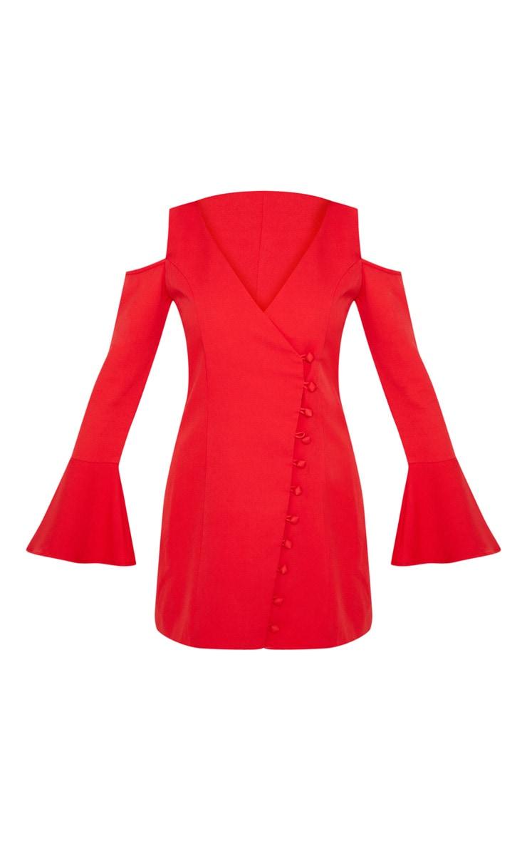 Red Button Detail Cold Shoulder Shift Dress 3