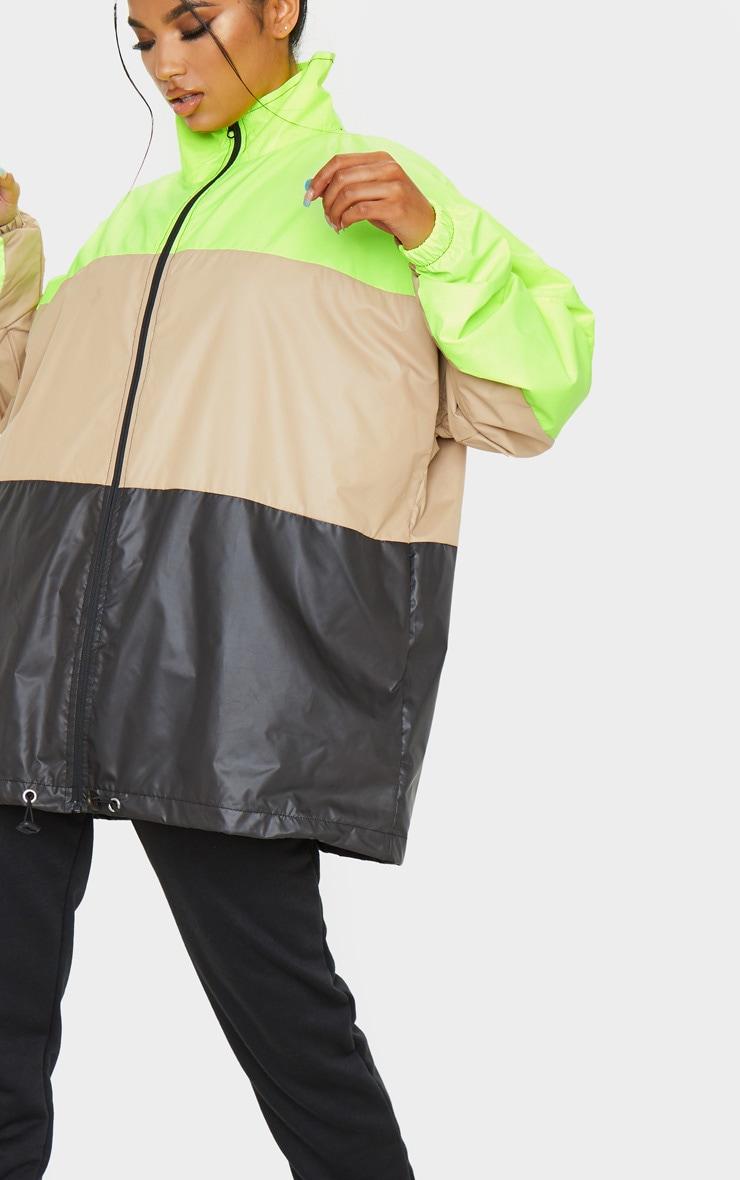 Stone Shell Colour Block Zip Up Windbreaker Jacket 5