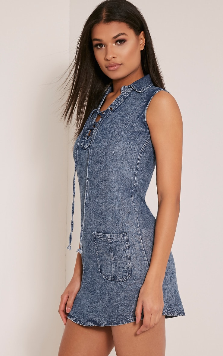 Dawn Acid Wash Lace Up Denim Mini Dress 4