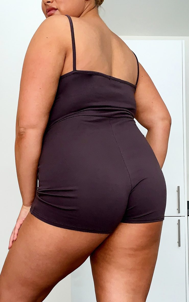 Plus Chocolate Brown Cotton Ruched Bust Unitard 2