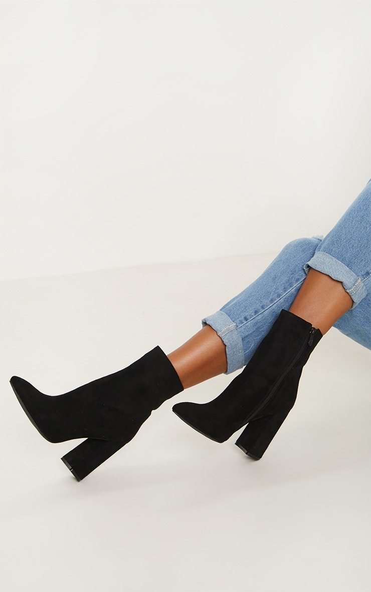 Black Faux Suede High Point Ankle Boot 2