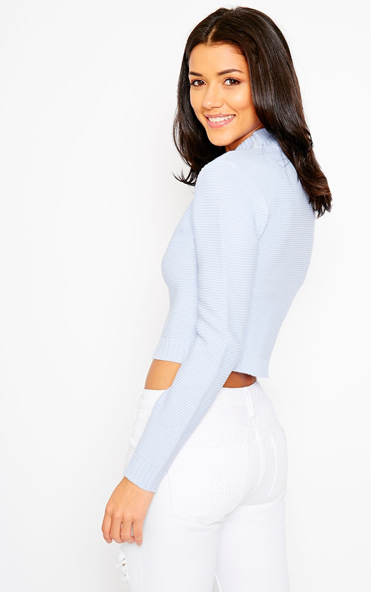 Allie Blue Ribbed Turtle Neck Crop Top 5