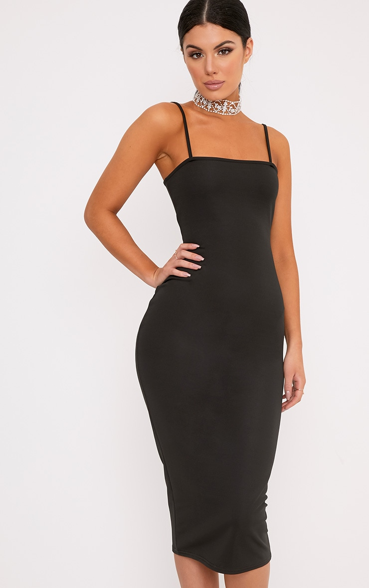 Jamila Black Straight Neck Midi Dress 1