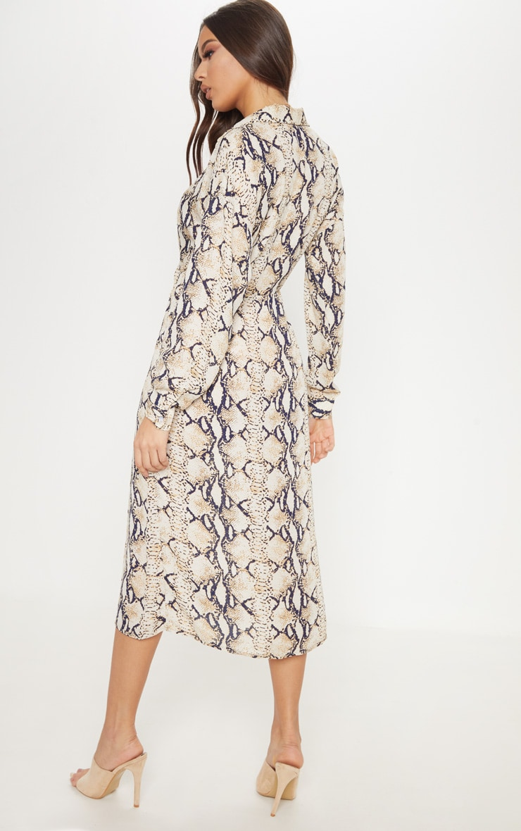 Taupe Snake Print Wrap Midi Dress 2