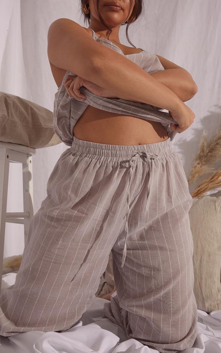 Plus Stone Wide Stripe Cotton Wide Leg PJ Bottoms 4