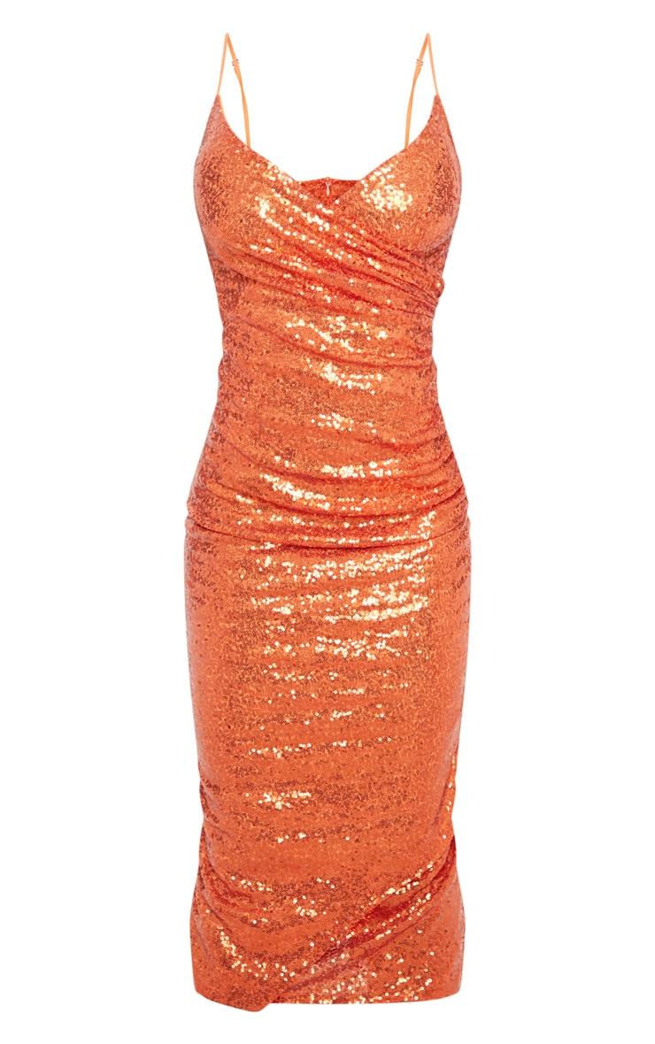 Burnt Orange Sequin Wrap Over Midaxi Dress 3