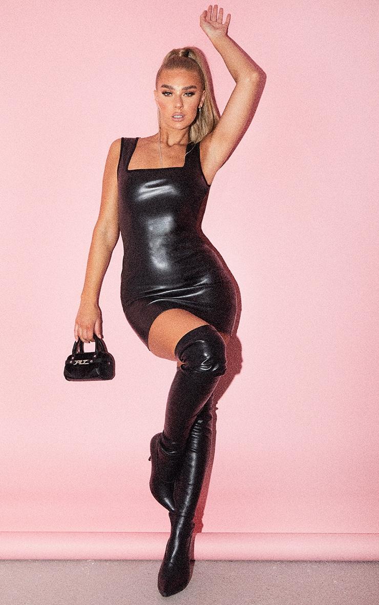 Black PU Lace Up Back Detail Sleeveless Bodycon Dress 3